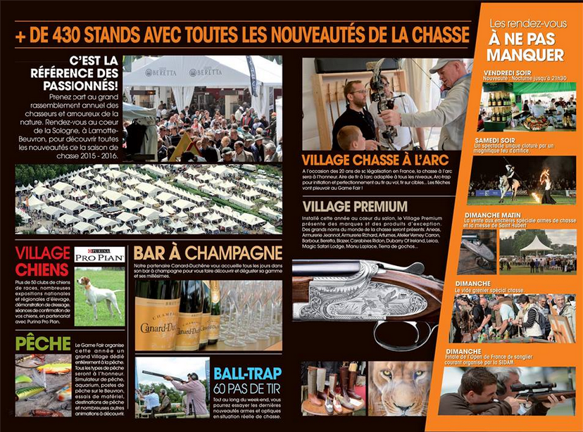GAME FAIR SALON CHASSE JUIN 2015 PROGRAMME