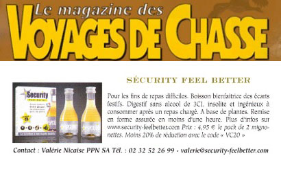 PRESSE SECURITYFEELBETTER  MAGAZINE VOYAGES DE CHASSE ARTICLE SUR SECURITY FEEL BETTER
