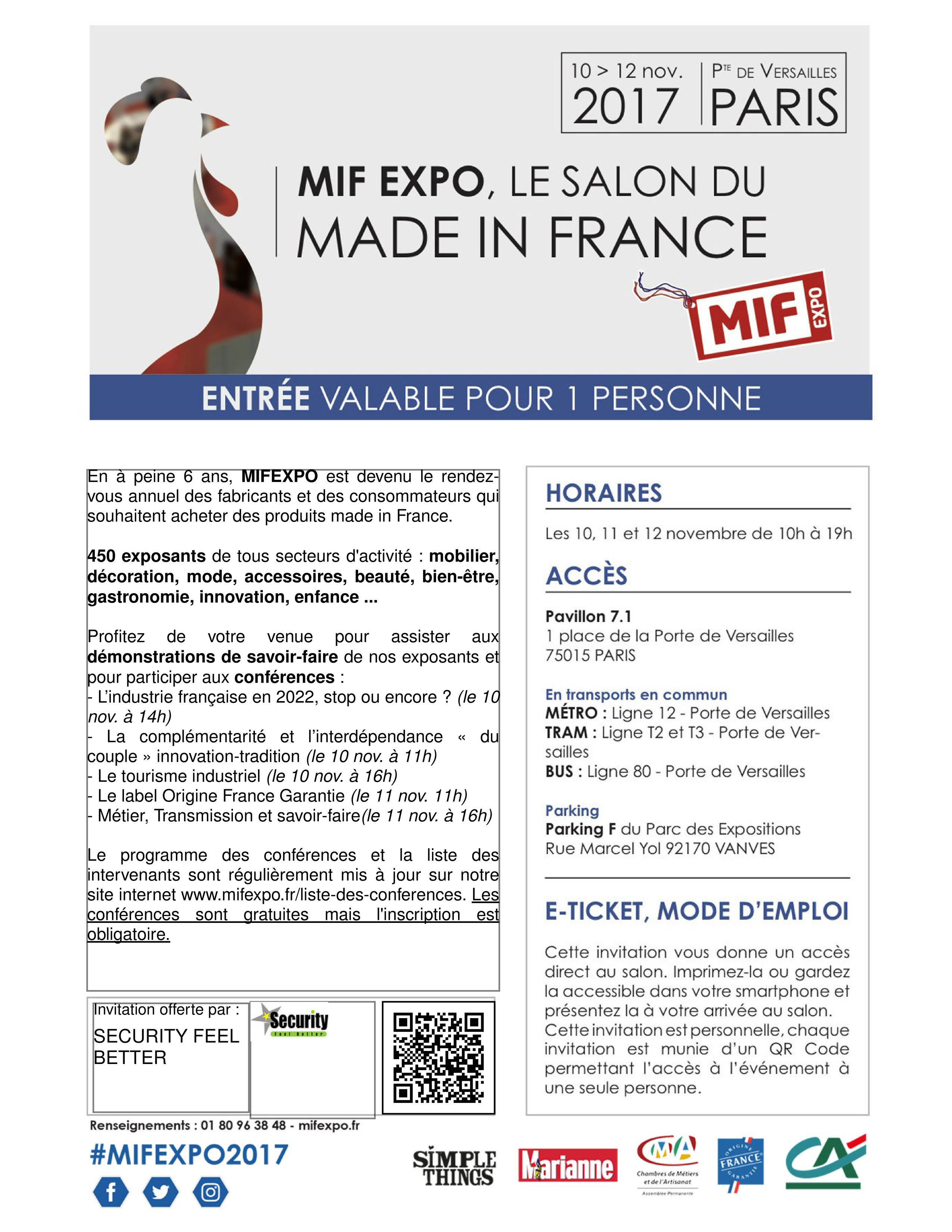 Salon made in france paris mif security feel better for Salon made in france
